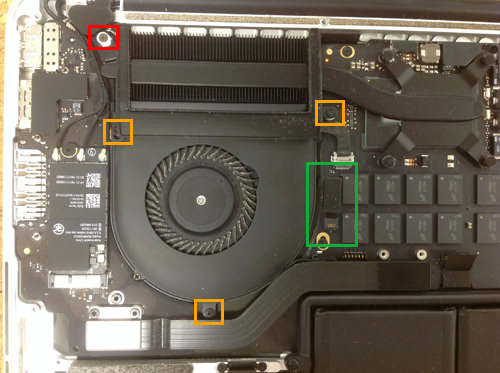 MacbookProRetina A1502 FAN交換方法3