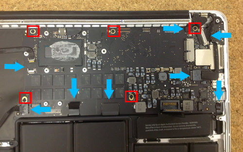 MacbookProRetina A1502 ロジックボード交換方法3